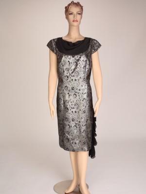 Silver Grey, Chiffon Black, Metallic Dress