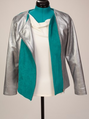 Blocked- Turquoise raw-hide Leather Jacket
