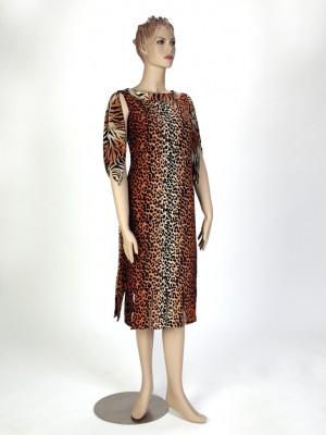 Tiger Print Scarf-Tie Sleeve Dress