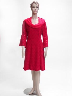 Red Chiffon Sweater Dress