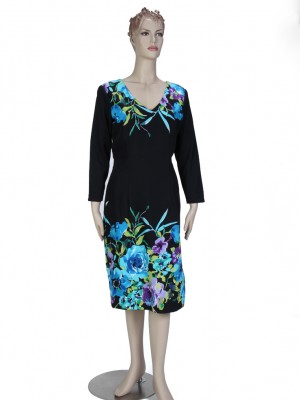 Turquoise-Blue and black V-neck Dress