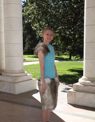 Turquoise Faux Fur Dress