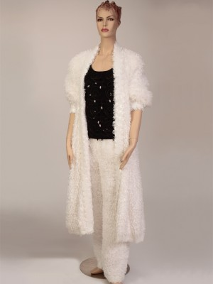 White Shearling 3pc. Maxi Suit