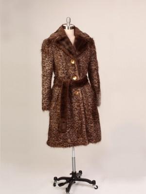 Brownish Black Belted Faux Fur Coat