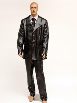 3pc Black Faux Leather Suit