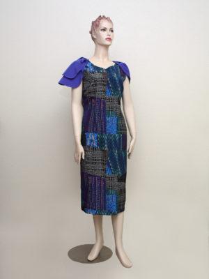 BLUE MULTI-BOWED V-NECK, SLEEVELESS DRESS