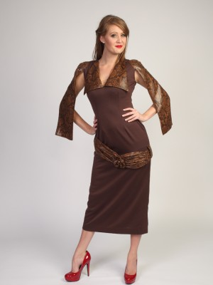Ladies brown Faux Leather Dress