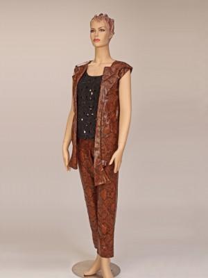 Ladies Rich-Brown Faux Leather Slack/Vest/blouse