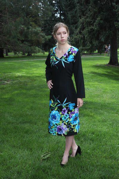 V-Neck Black Turquise Dress