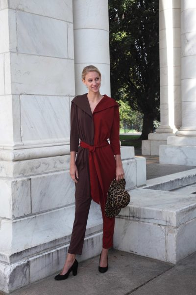 Brown-Brick Red Pointe Jumpsuit