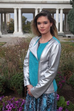 Tuquoise Grey Faux Lether Jacket