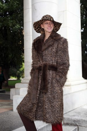 Brown Black Faux Fur Coat