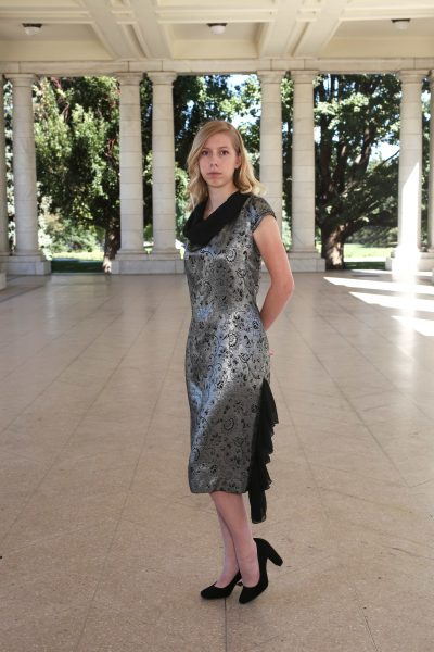 Silver Grey, Chiffon Black, Metallic Dress